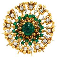 1960s Schlumberger Emerald Diamond Gold Brooch