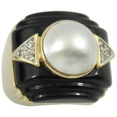 Onyx Mabe Pearl Diamond Gold Ring
