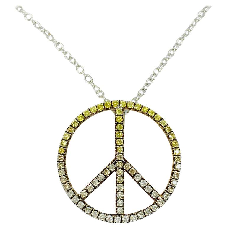 Multicolor Diamond Gold Peace Sign Necklace For Sale At