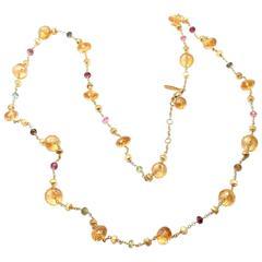 Marco Bicego Paradise Citrine Peridot Tourmaline Gold Long Necklace