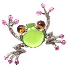 Bulgari Peridot Pink Sapphire Citrine Diamond Gold Frog Pin Brooch