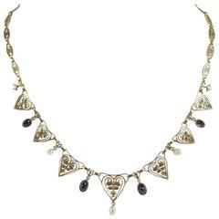 1900s Pearl Sapphire Diamond Gold Drapery Art Nouveau Necklace