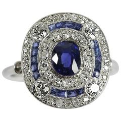1910s French Belle Epoque Natural Sapphire Diamond Platinum Ring