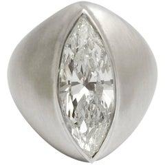 4.09 Carat Marquise Diamond Gold Ring