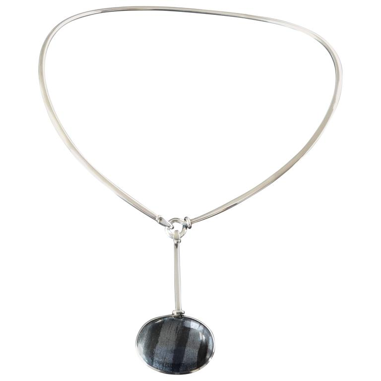 Georg Jensen Torun Modernist Silver Neck Ring 174 Hematite Drop Pendant No. 129