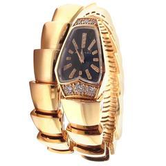 Bulgari Rose Gold Diamond Serpenti Snake Bracelet Wristwatch