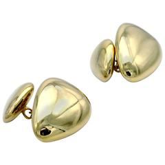 Modern Gold Pebble Cufflinks