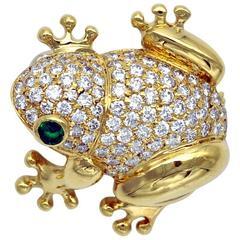 Emerald Diamond Gold Frog Brooch