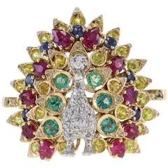 Gemstone Gold Peacock Ring