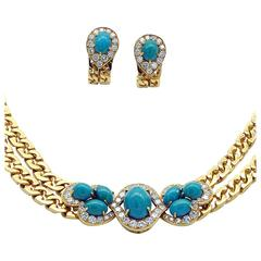 Tabbah Turquoise Diamond Gold Necklace and Earrings Set
