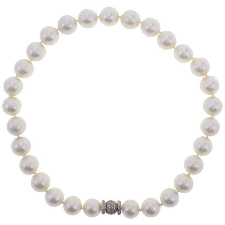 Australian Pearl Diamond Beaded Gold Necklace