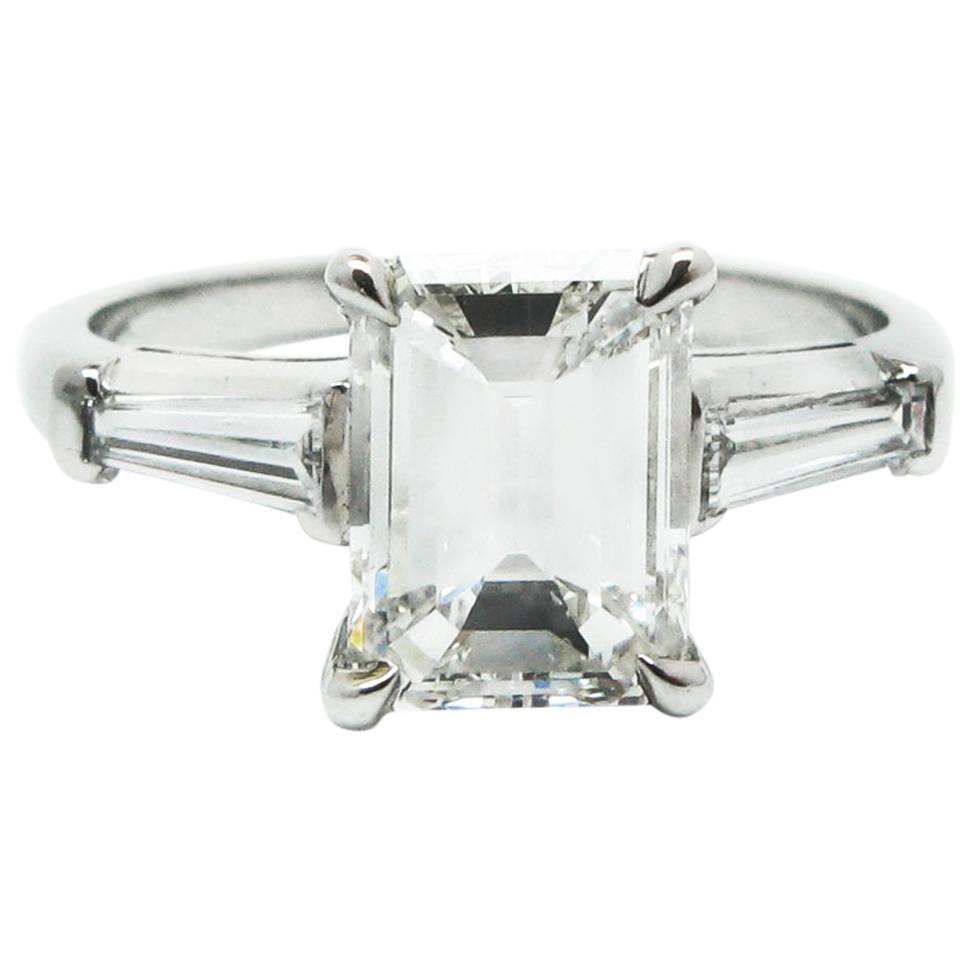 Classic 2 02 Carat GIA Cert Emerald Cut Diamond and Platinum Ring For Sale at