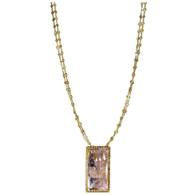 """Samuel Getz"" Gold Pendant with a ""Munsteiner"" Phantom Quartz and Mali Garnets"