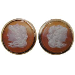 3 Neoclassic Faces in Agate Cufflinks