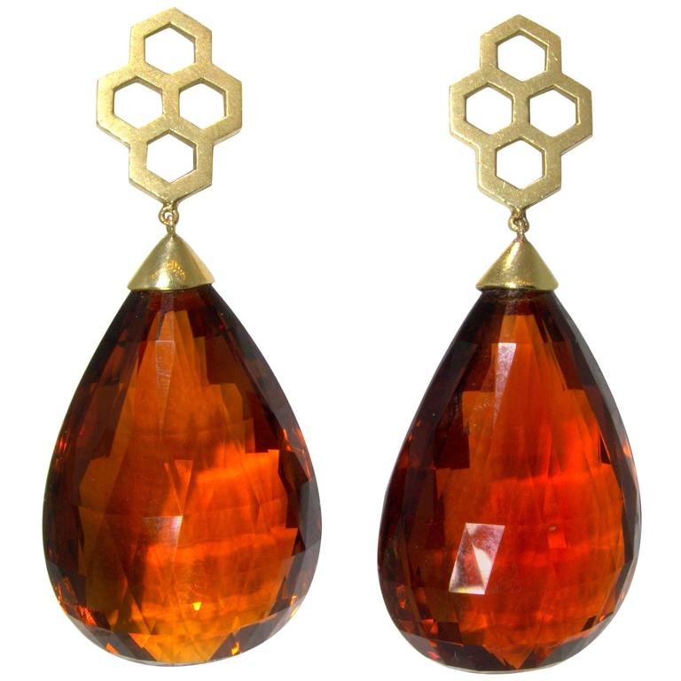 Madeira Citrine Briolette Gold Drop Earrings 1