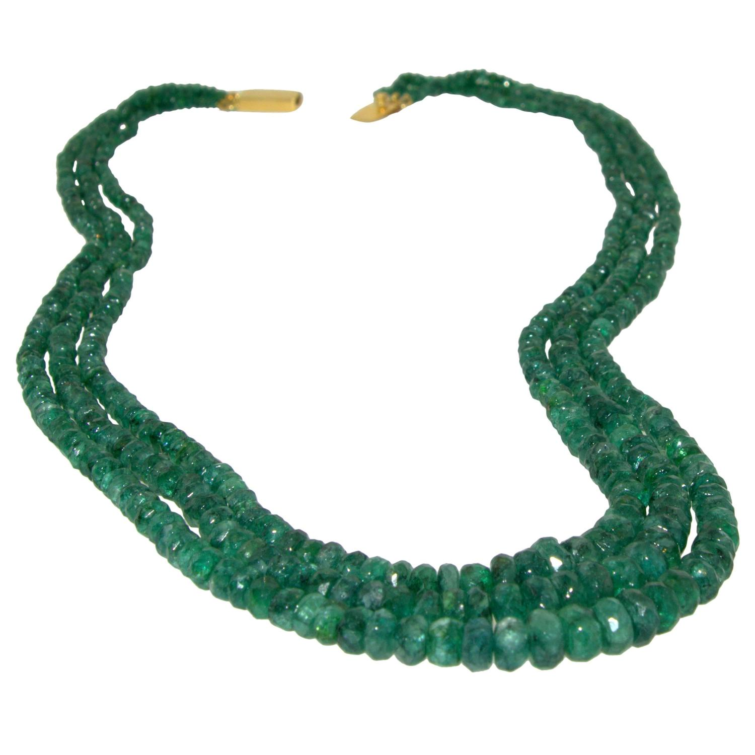 emerald bead necklace for sale at 1stdibs