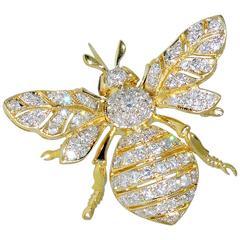 Diamond Gold Bumble Bee Brooch