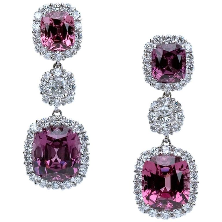 """An Exceptional Pair of """"Samuel Getz"""" Pink Spinel and Diamond Drop Plat Earrings"""
