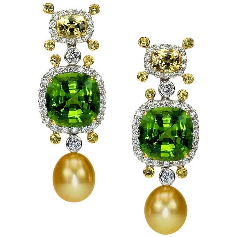 Samuel Getz Peridot, Sappihre Golden South Sea Pearl Dia Gold Platinum Earrings