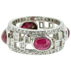 Art Deco Cabochon Ruby Diamond Platinum Wide Band Ring