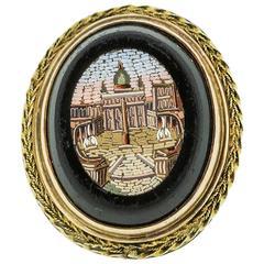 Victorian 14k Yellow Gold Onyx Micro-Mosaic Ring