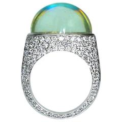 Samuel Getz Very Fine and Unique Rainbow Moonstone Pavé Diamond Ring