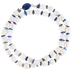 Large Freshwater Wrinkle Pearl Necklace with Lapis Lazuli Disc Spacers