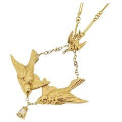Art Nouveau 14k Yellow Gold Swallow Motif Lavalier Style Necklace