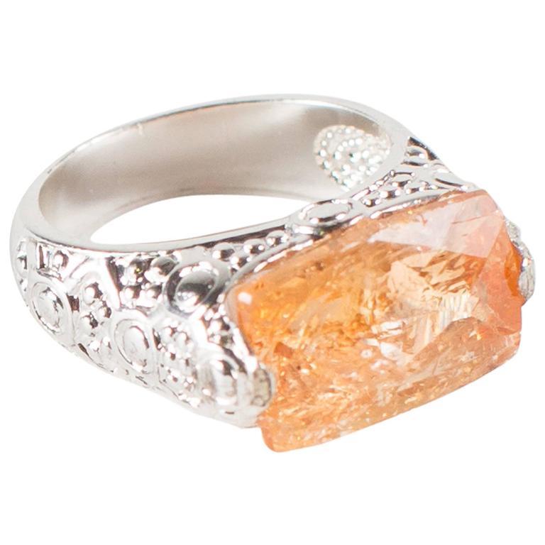 brazilian orange imperial topaz sterling silver ring at