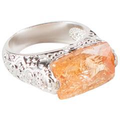 Brazilian Orange Imperial Topaz Sterling Silver Ring