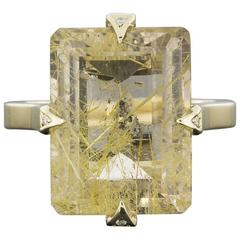Custom One-of-a-Kind Yellow Gold Certified Rutilated Quartz & Diamond Ring