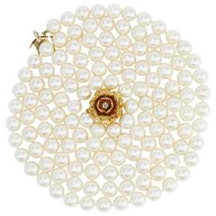 Opera Length Pearls with Decorative Gold Clasp