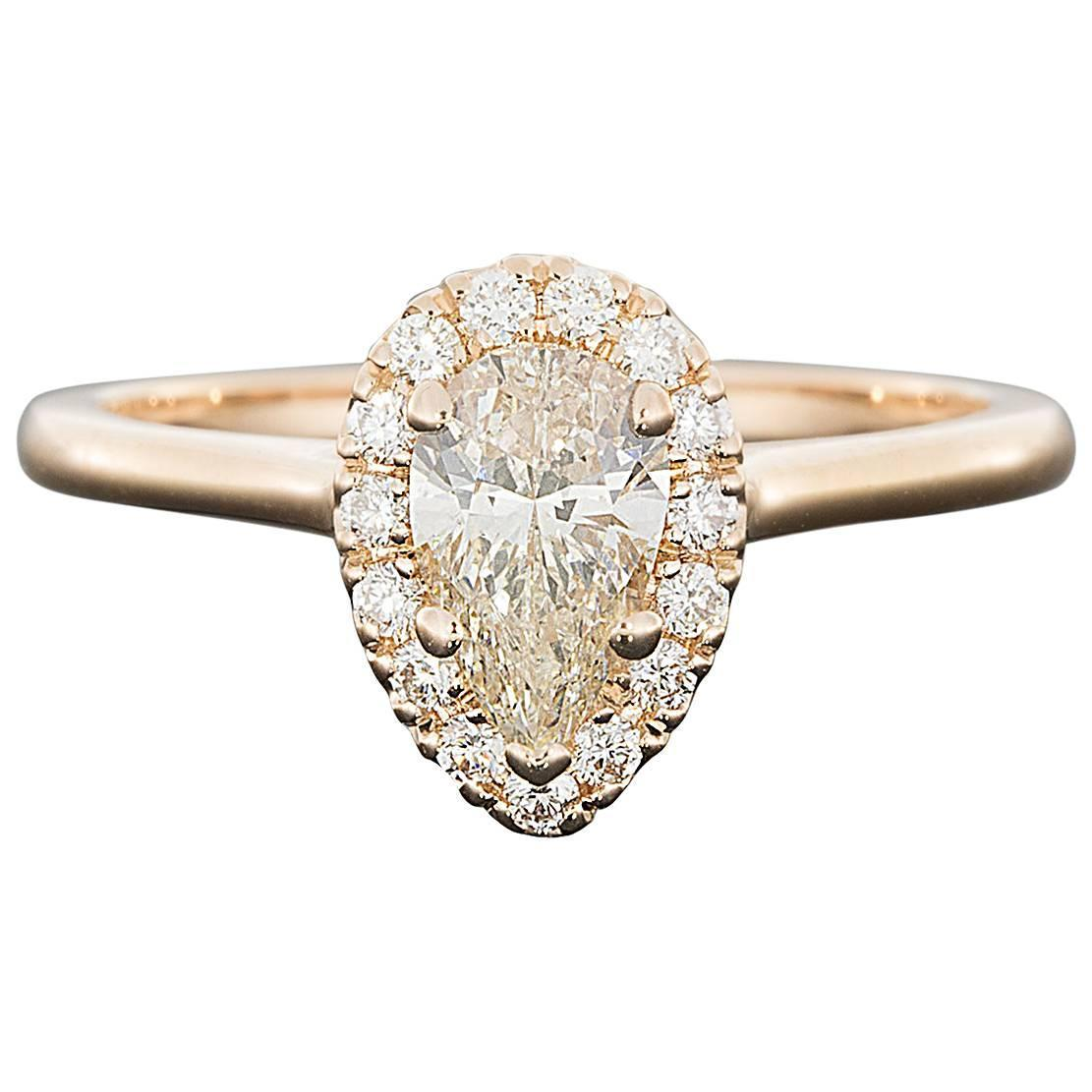 Beautiful Custom Rose Gold Pear Diamond Halo Engagement Ring at 1stdibs