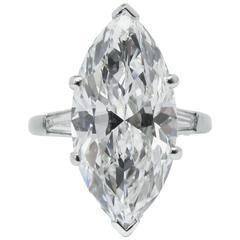 Classic 6.02 Carat GIA Cert Marquise Cut Diamond Platinum Ring