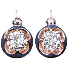 Antique Solitaire 1 Carat Diamond Blue Enamel Earrings