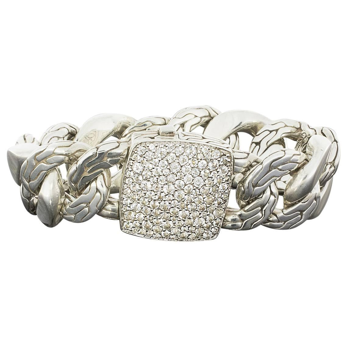 John hardy silver wide curb link bracelet with pave cubic for John hardy jewelry factory bali