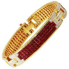 Fantastic 21 Carat Invisible Set Ruby Diamond Gold Bracelet