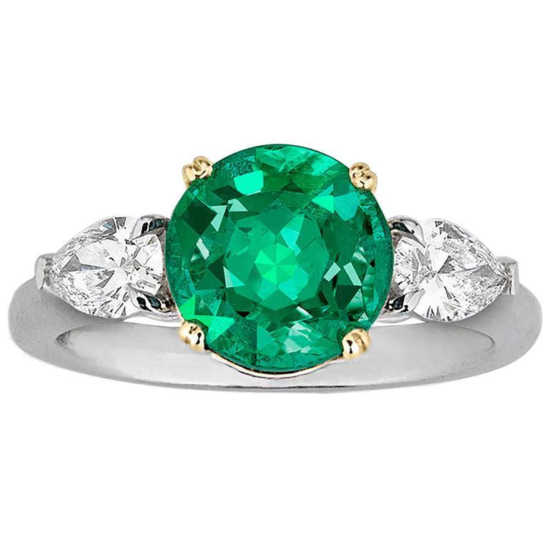 2.58 Carat Emerald Diamond Gold Platinum Ring