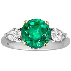 2.58 Carat Emerald Diamond Gold Platinum Ring