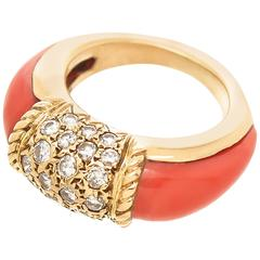 1980s Van Cleef & Arpels Coral Diamond Gold Philippine Ring