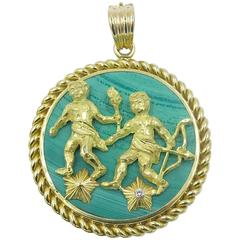 "Van Cleef & Arpels Malachite Diamond Gold ""Gemini"" Zodiac Pendant"