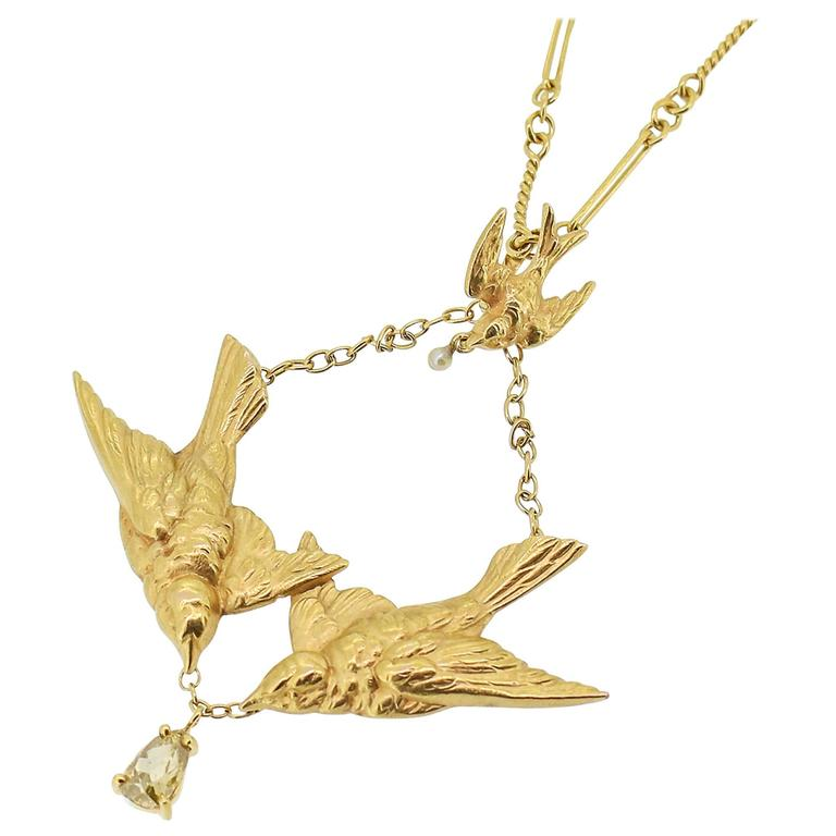 Art Nouveau Gold Swallow Motif Lavalier Style Necklace 1