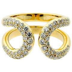Hermes Diamond Gold H Ring