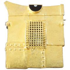 1980s Albert Sous Post-Modernist Acrylic Gold Brooch
