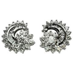 Engel Brothers Diamond Platinum Comet Earrings
