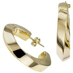 Tiffany & Co. Square Tubular Gold Hoop Earrings
