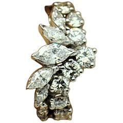 1960s Marquise and Round Diamond Platinum Ring