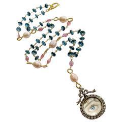 London Blue Topaz Pink Sapphire Lover's Eye Necklace