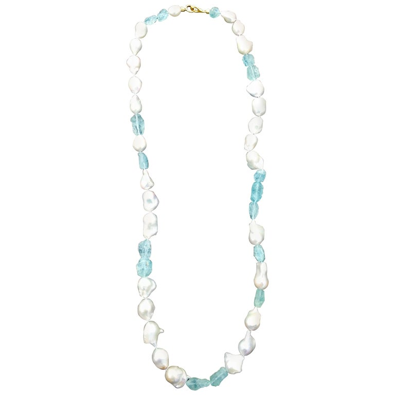 South Sea Baroque Pearl and Aquamarine Hand Strung Necklace
