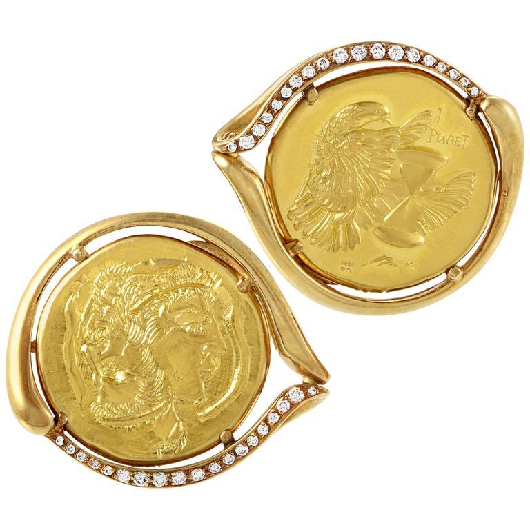 Piaget Diamond Gold Coin Cufflinks